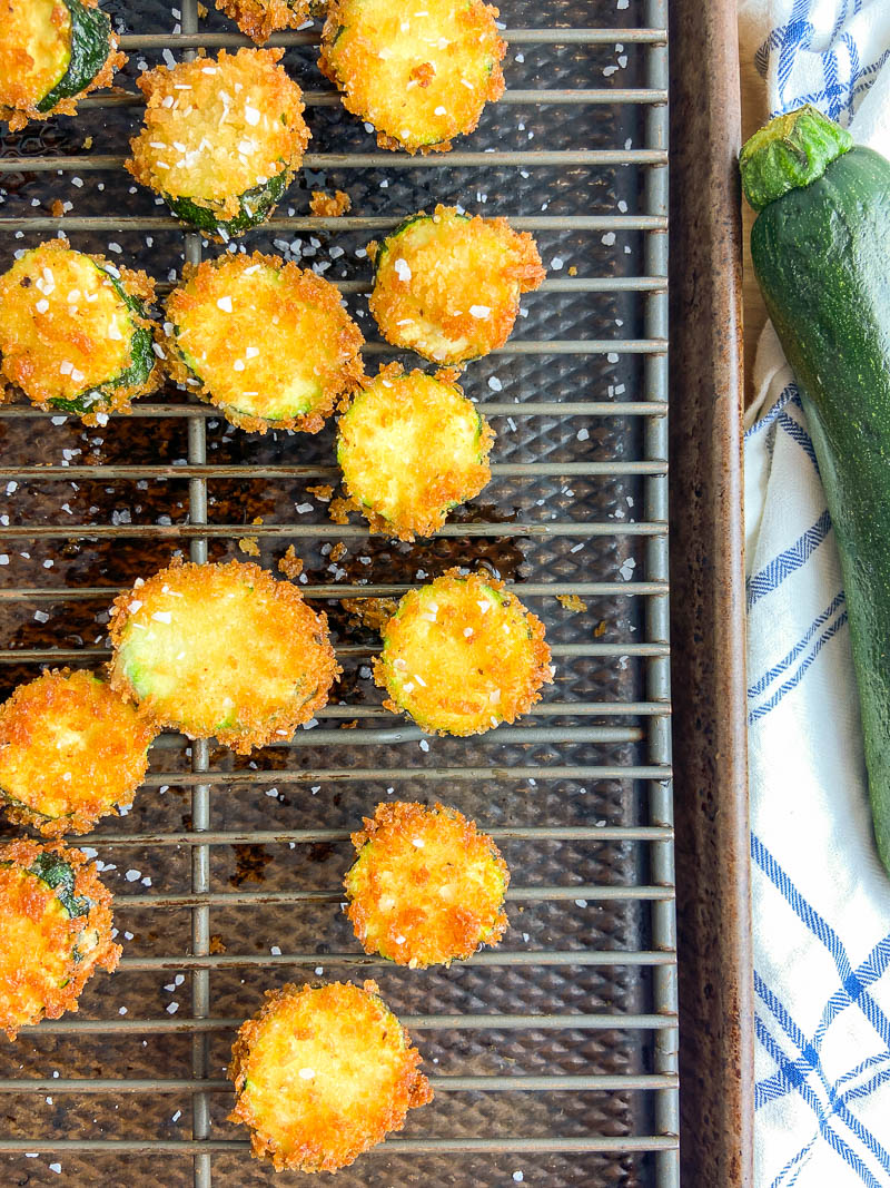 Fried zucchini on a wire rack