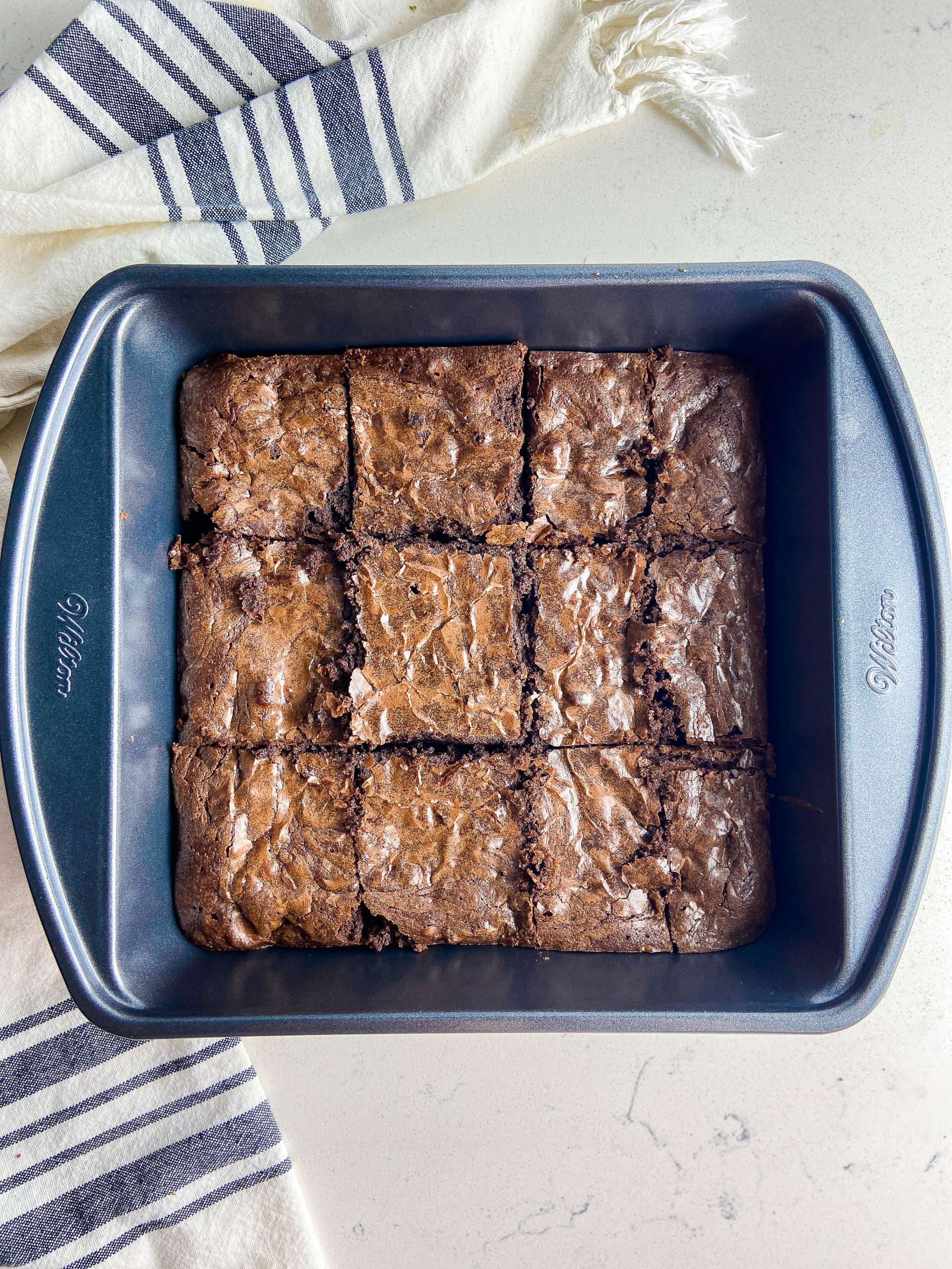 overhead photo of brownies in a baking dish.