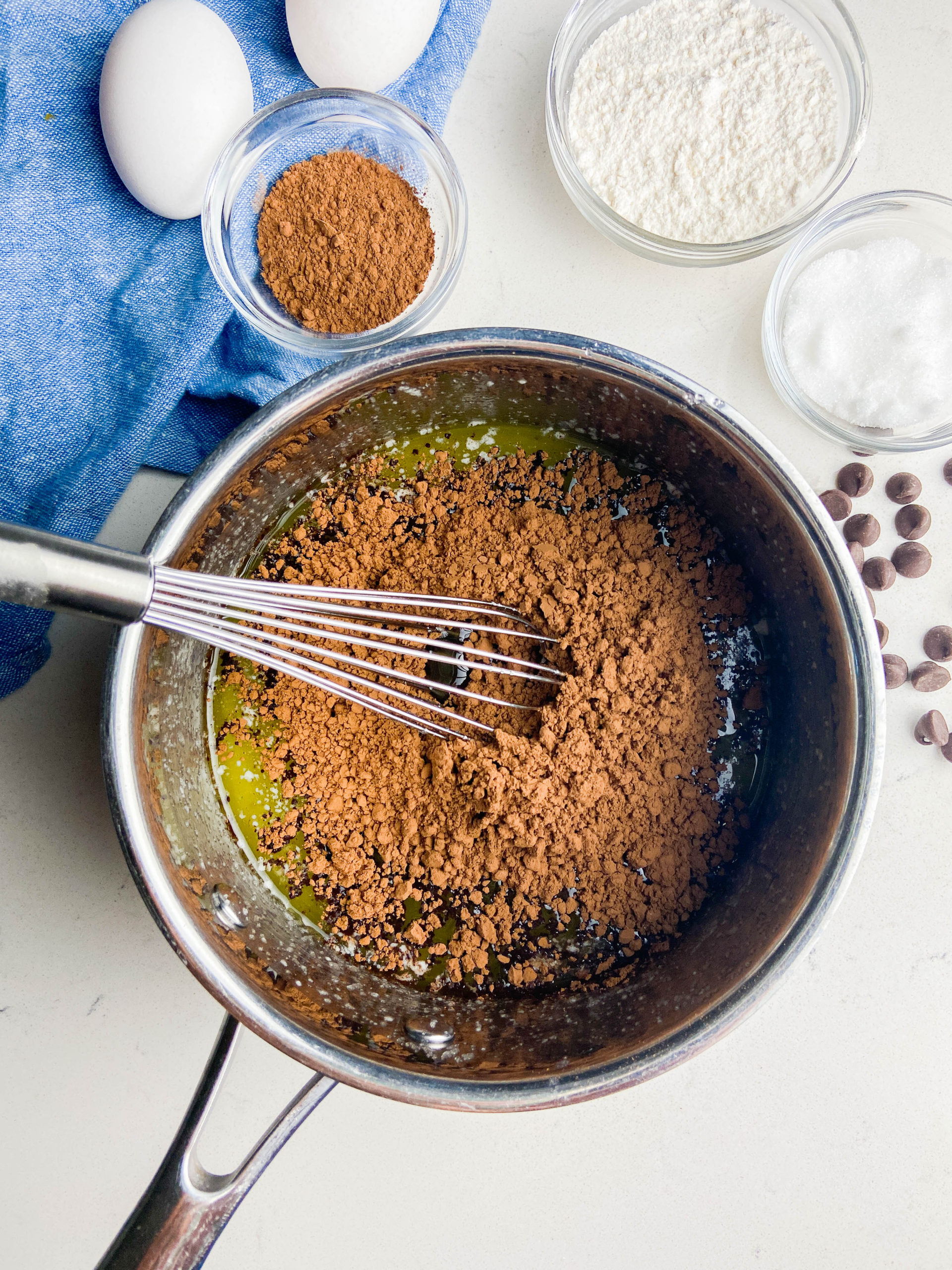 Cocoa powder in a pan.