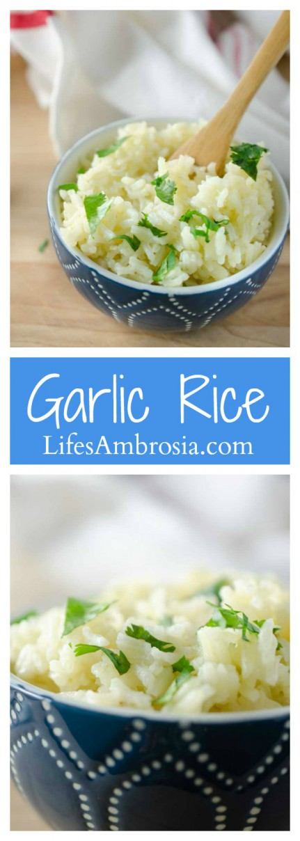 This garlic rice is a perfect, easy way to jazz up your rice side dish.