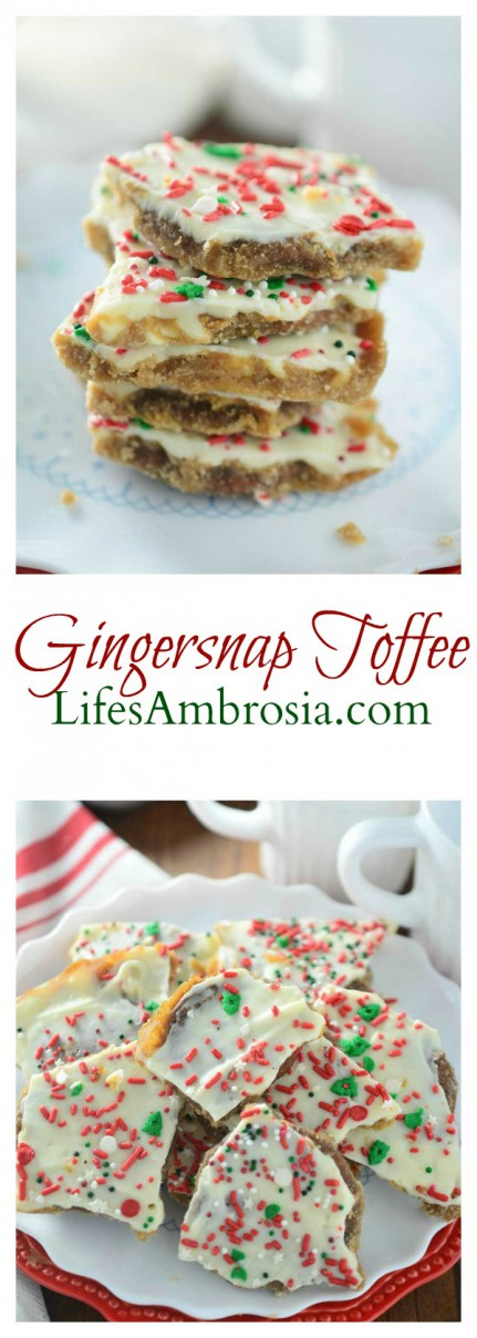 If you love gingersnaps, toffee and white chocolate, you'll love this Gingersnap Toffee. It's perfect for Christmas!