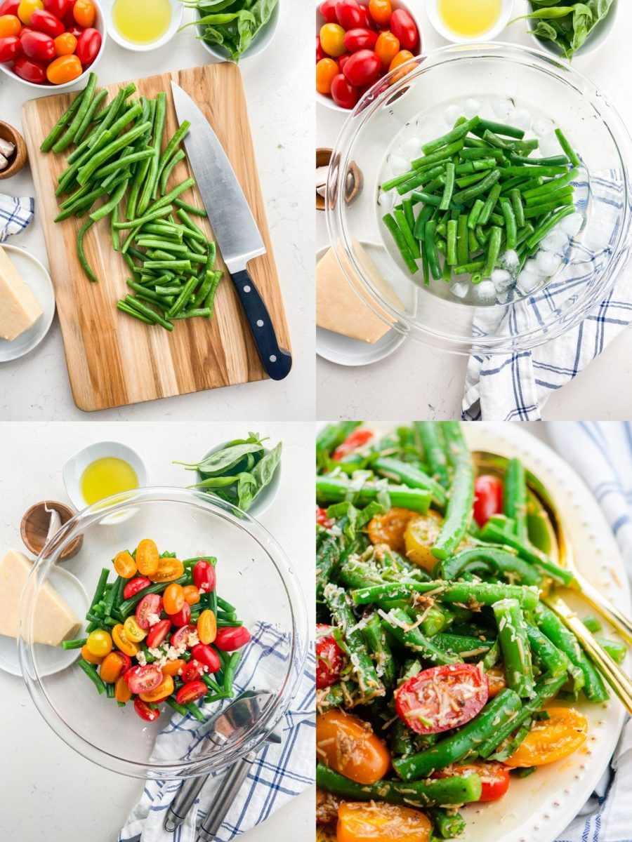 Step by Step Photos showing how to make green bean salad.