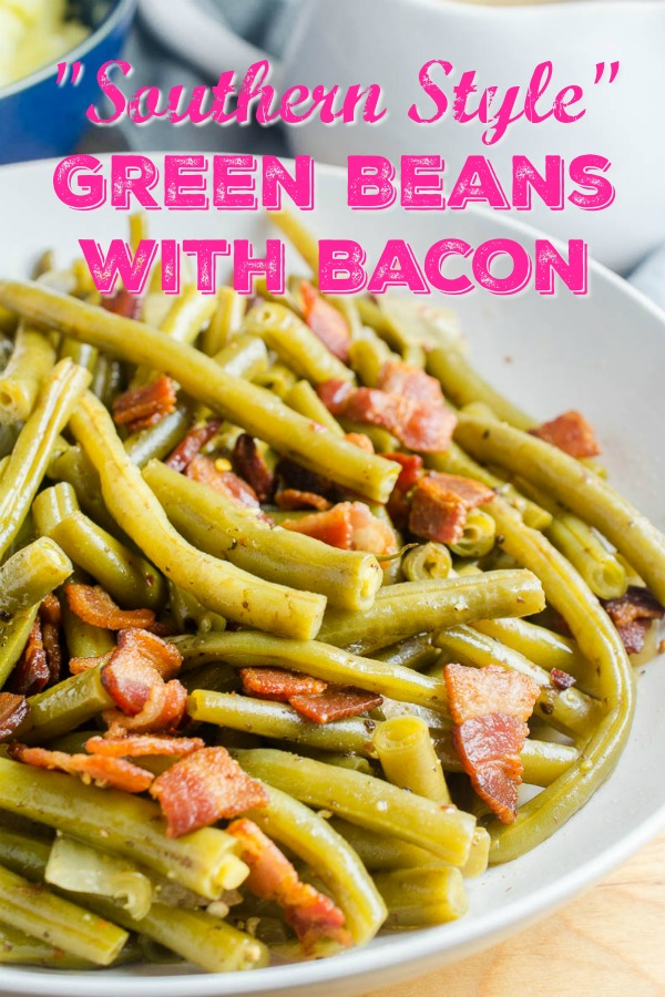 Southern Style Green Beans with Bacon is a comfort food classic. Fresh green beans slow simmered with onions, chicken broth and bacon. Perfect for holidays and Sunday supper! #greenbeans #comfortfood #sidedish #vegetables
