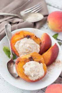 Grilled Peaches with White Peach Balsamic Cream Cheese