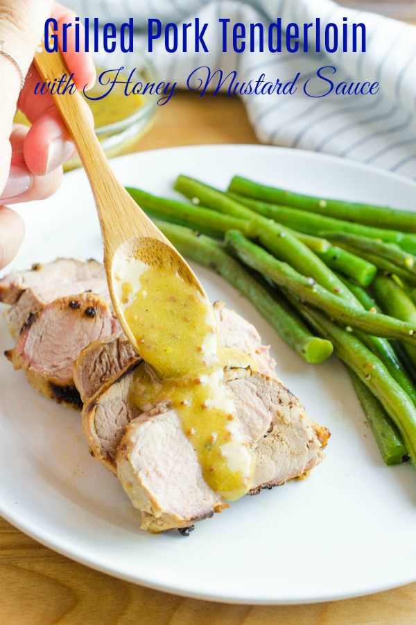Grilled Pork Tenderloin is an easy flavorful dinner. Marinated in a honey mustard sauce and then grilled to perfection. An easy family dinner!  #pork #porktenderloin #easydinner #weeknightdinner #grilling