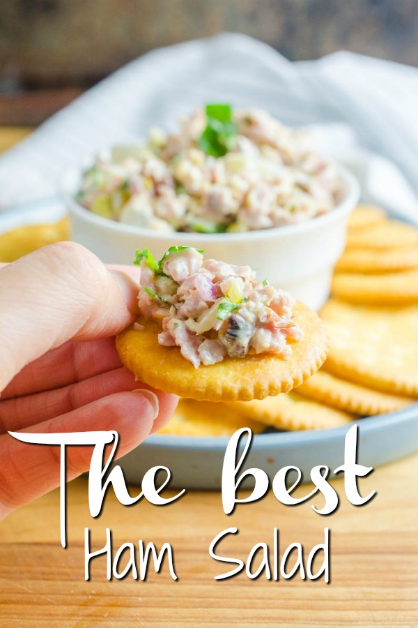 Ham salad is one of the BEST ways to use leftover ham. Less than 10 ingredients and 10 minutes and you can be snacking on this delectable classic. #hamsalad #ham #leftovers #sandwich #hamsaladsandwich #appetizer