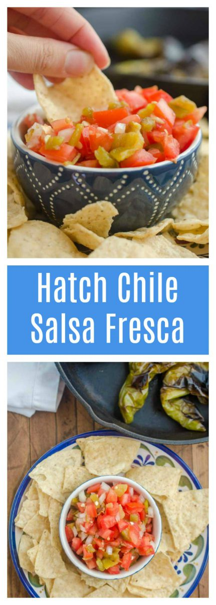 Hatch Chile Salsa Fresca is made with roasted hatch chilies, fresh tomatoes, onions, garlic and lime. It's a fun twist on fresh salsa!