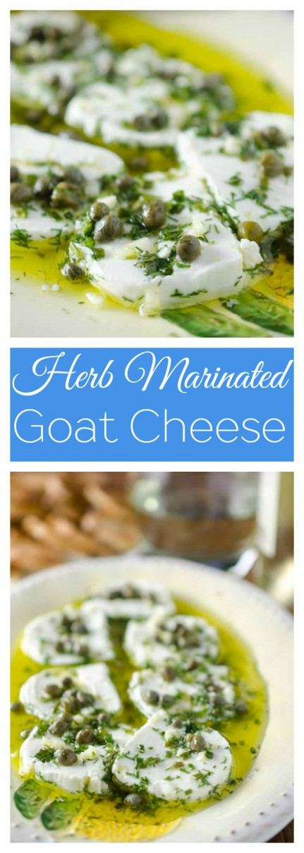 Tangy herb marinated goat cheese is the perfect appetizer to enjoy with a glass of wine.