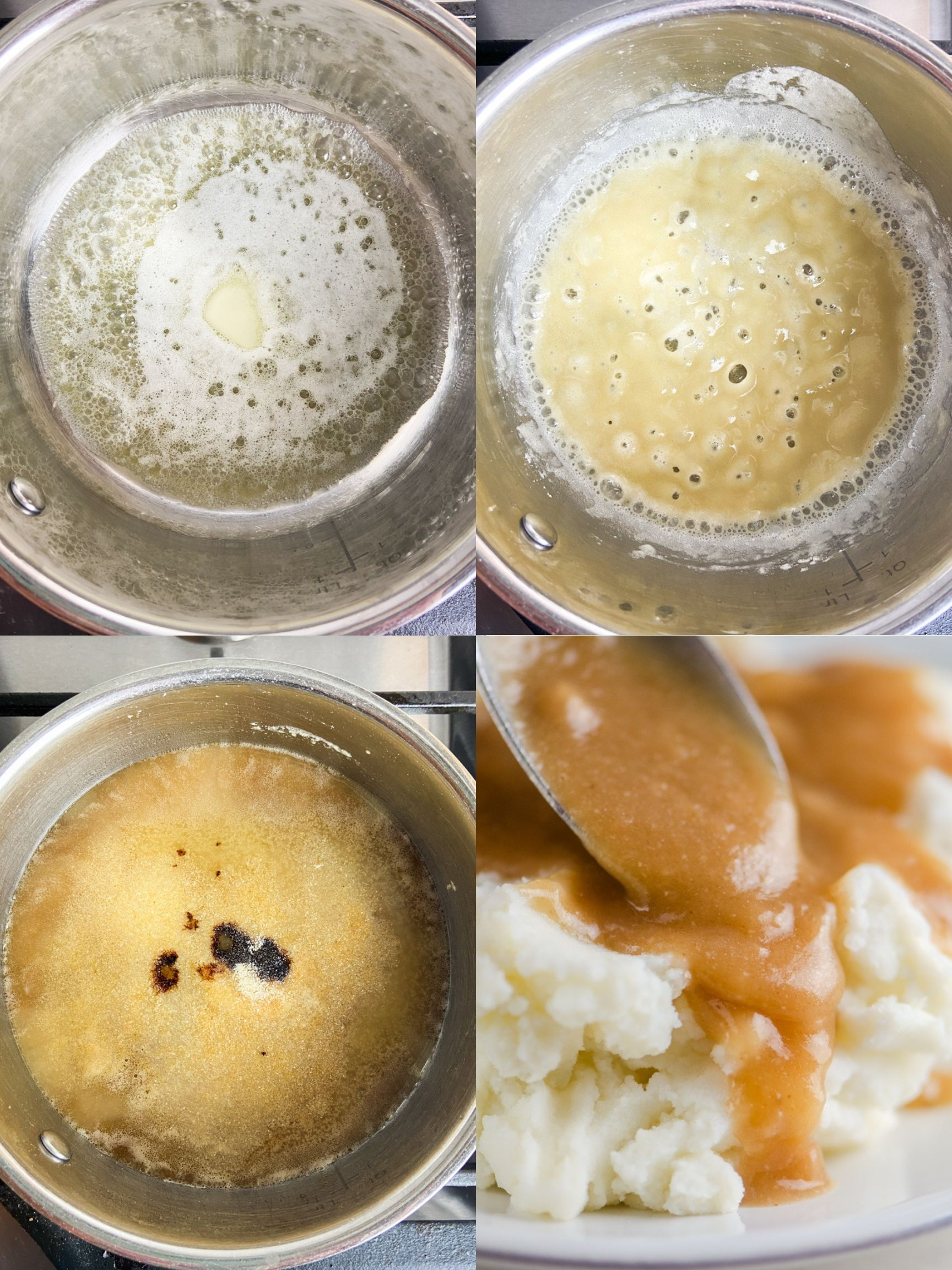 Step by step photo collage showing how to make brown gravy.