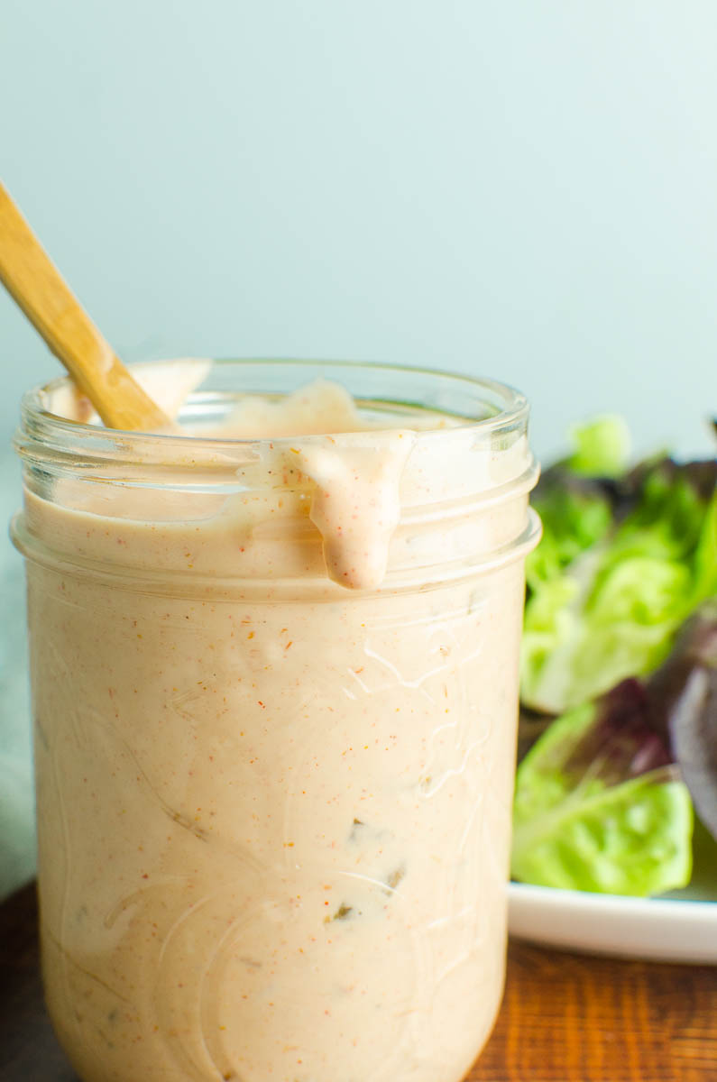 A jar of homemade thousand island dressing