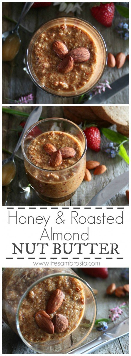 Honey and Roasted Almond Nut Butter is the perfect combination of sweet, salty and nutty goodness!