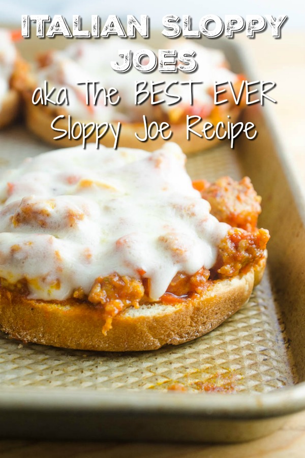 Easy Italian Sloppy Joes is the best sloppy joe recipe. Loaded with Italian sausage, bell peppers and provolone cheese. They are messy, savory, adult friendly, kid friendly and just plain good.