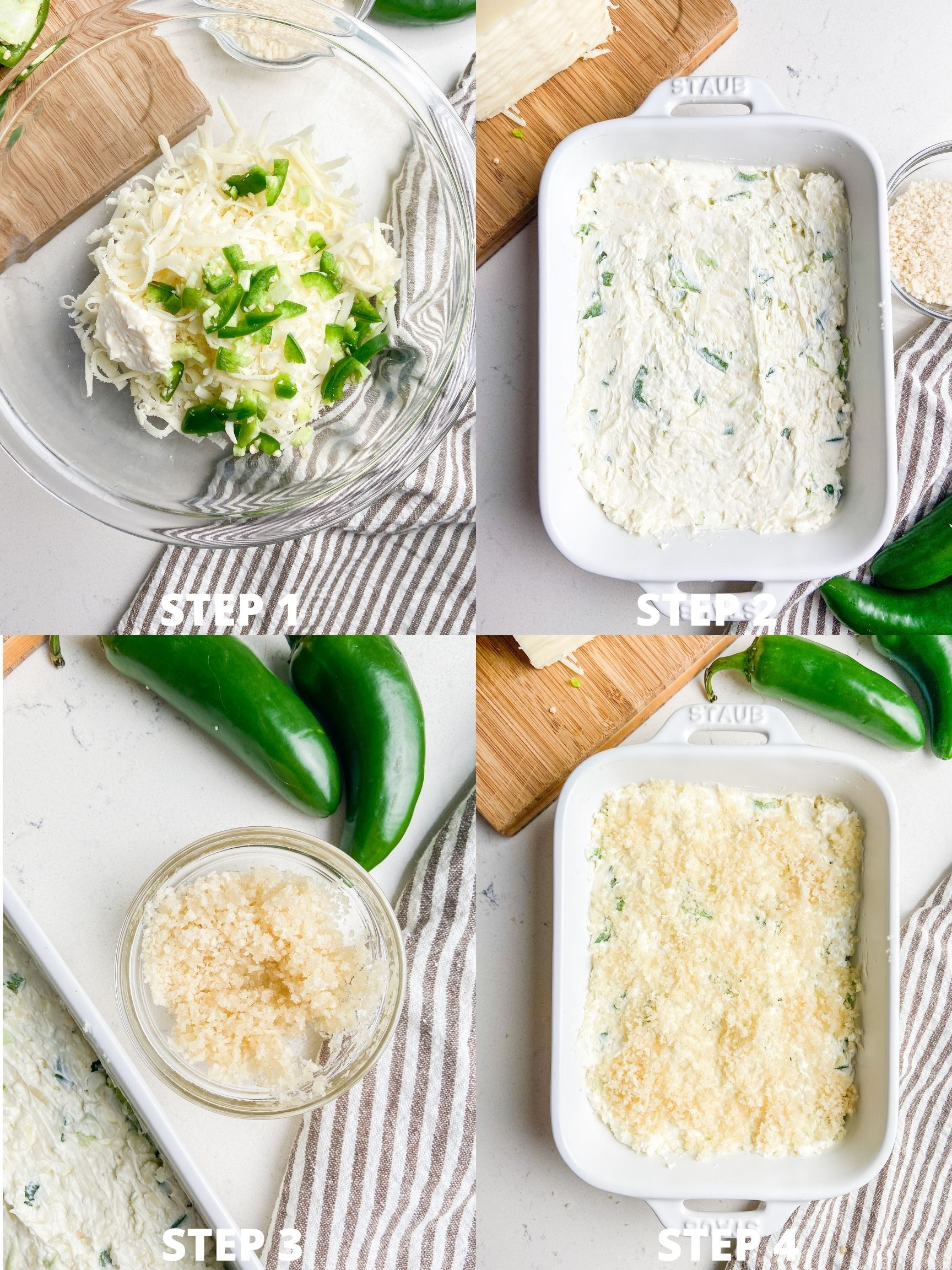 Step by step photos for jalapeno popper dip.