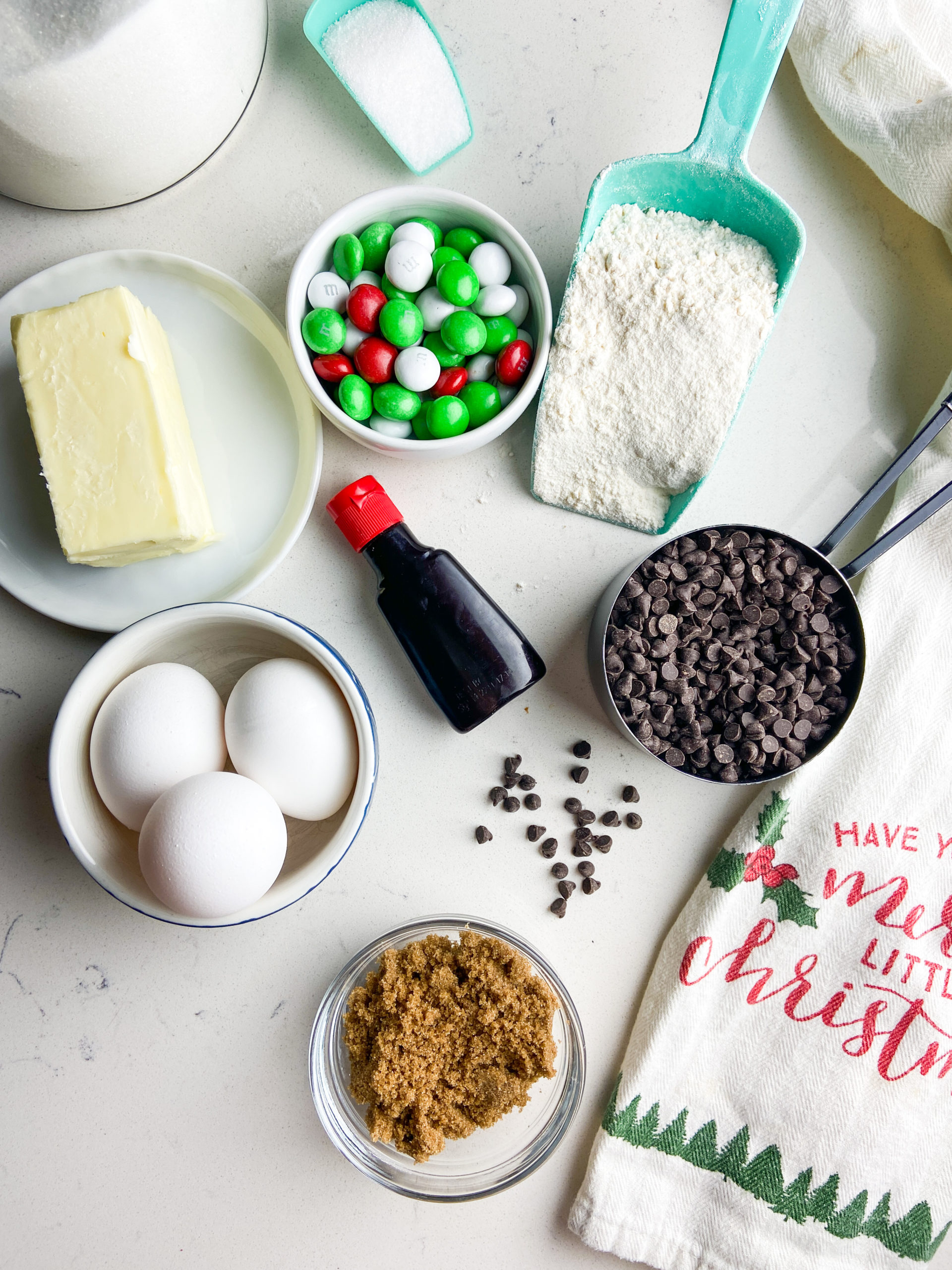 Ingredients for Mint M&M cookie bars