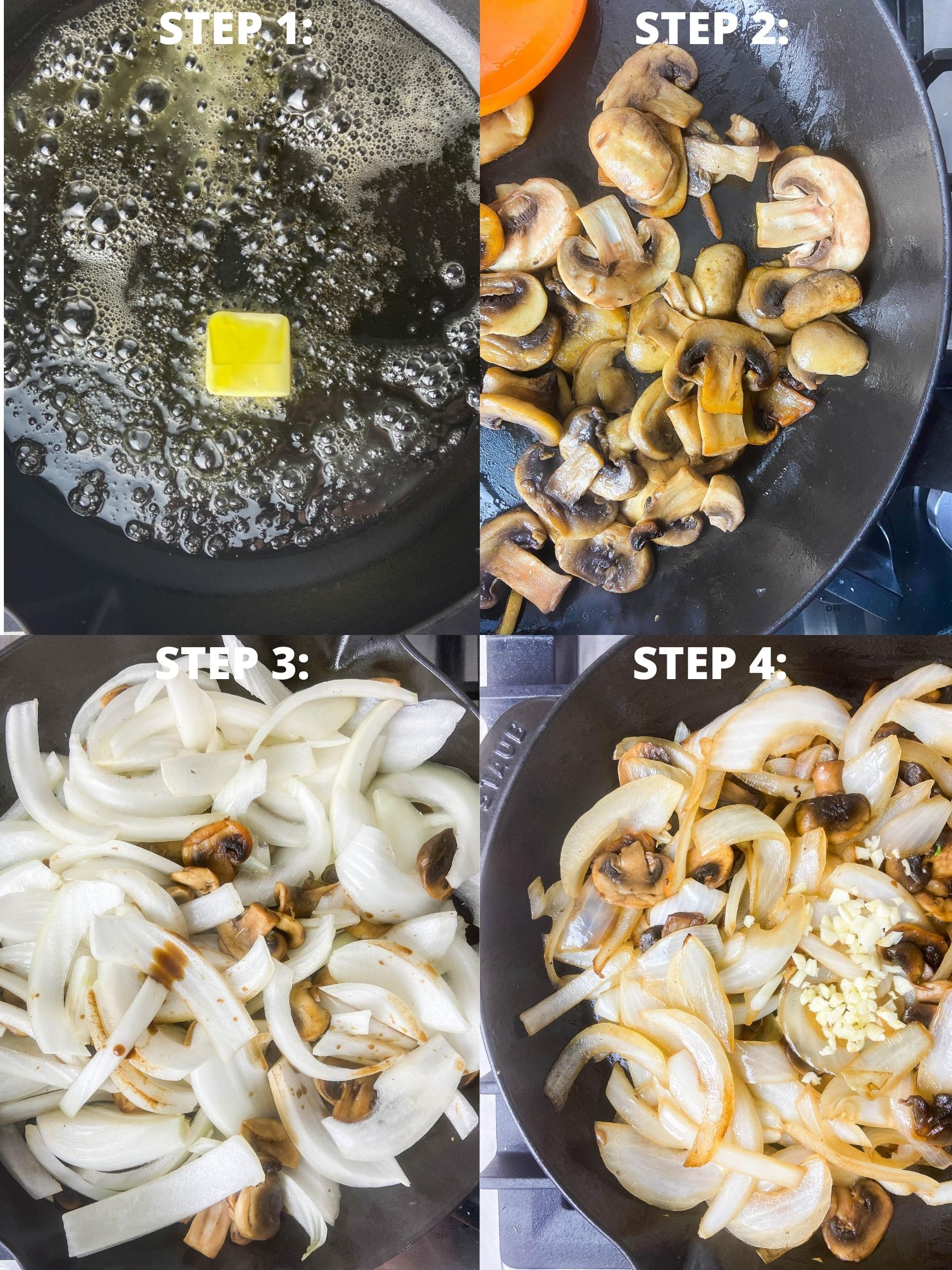 Step by step photos for how to make sauteed mushrooms and onions.