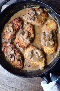 Pan Fried Pork Chops with Mushroom Gravy