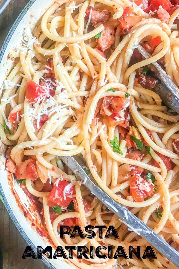 Pasta Amatriciana made with pancetta, tomatoes, Romano cheese, crushed peppers and onions. It will be a family favorite!  #pasta #Italian #amatriciana