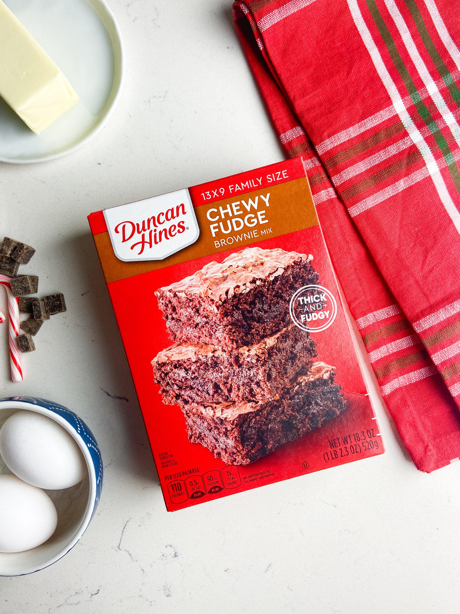 Ingredients for peppermint brownie cookies.