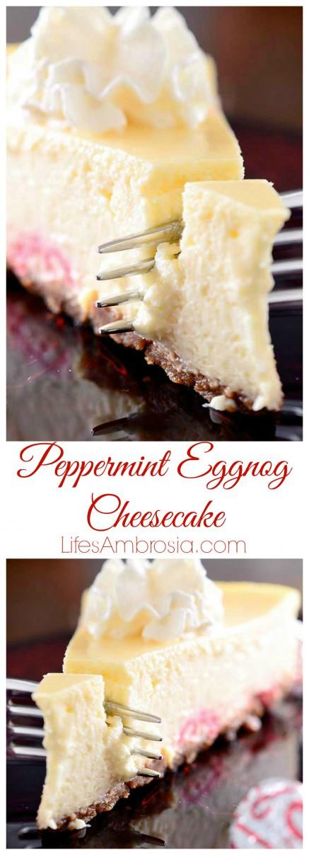 Peppermint Eggnog Cheesecake