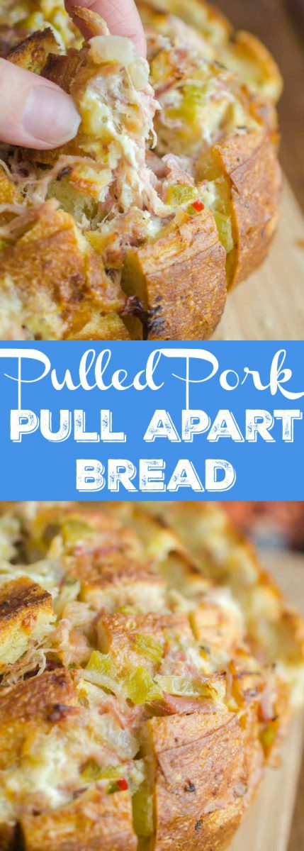 #ad  Pulled Pork Pull Apart Bread is loaded with succulent delicious pulled pork, cheese, chiles and onions. It's the perfect cheesy snack for game day!