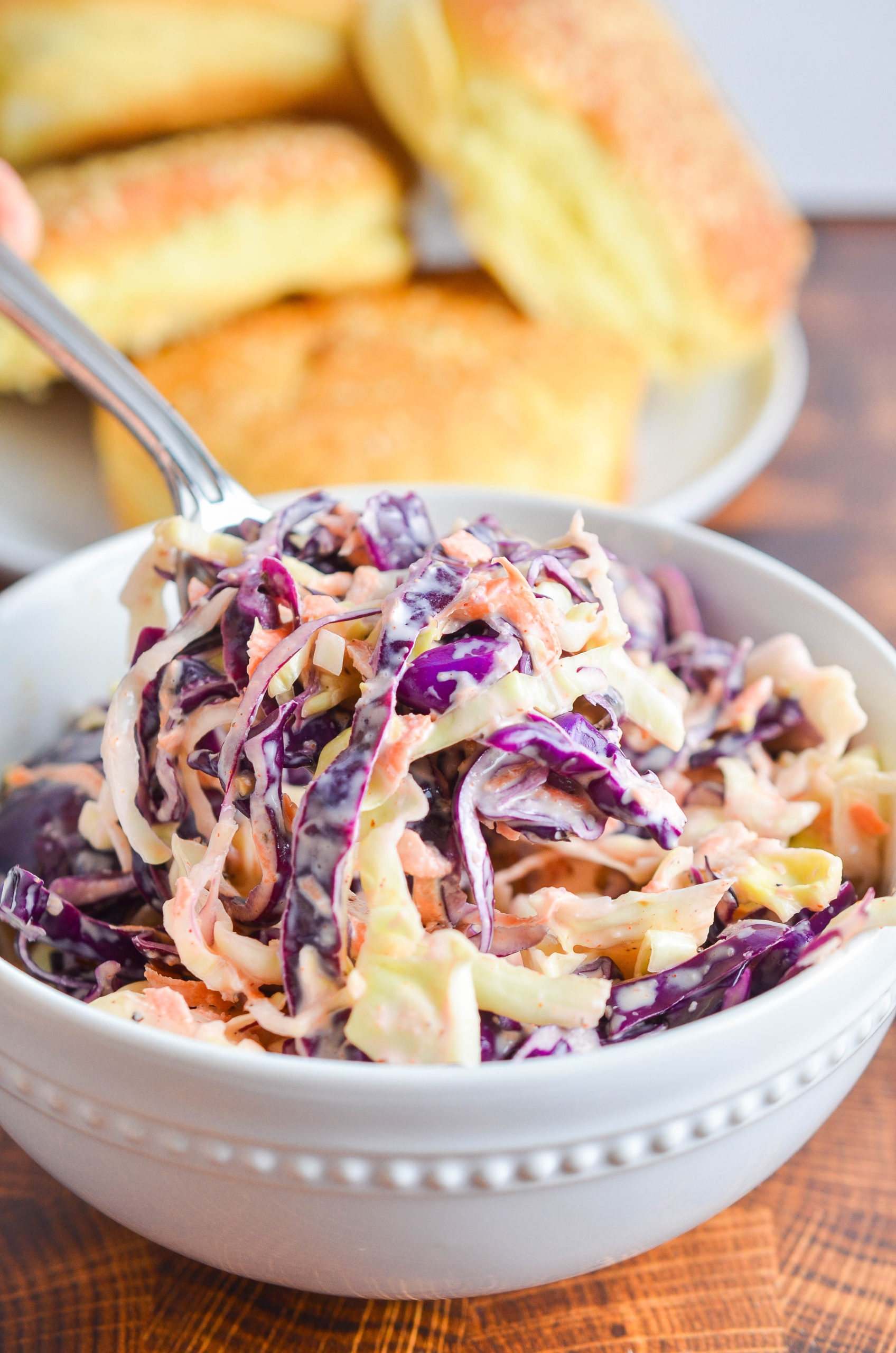 A spoonful of coleslaw.