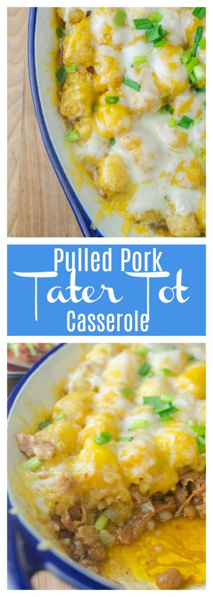 #AD Quick and easy Pulled Pork Tater Tot Casserole is loaded with baked beans, pulled pork and two cheeses. This casserole is perfect for busy weeknights.