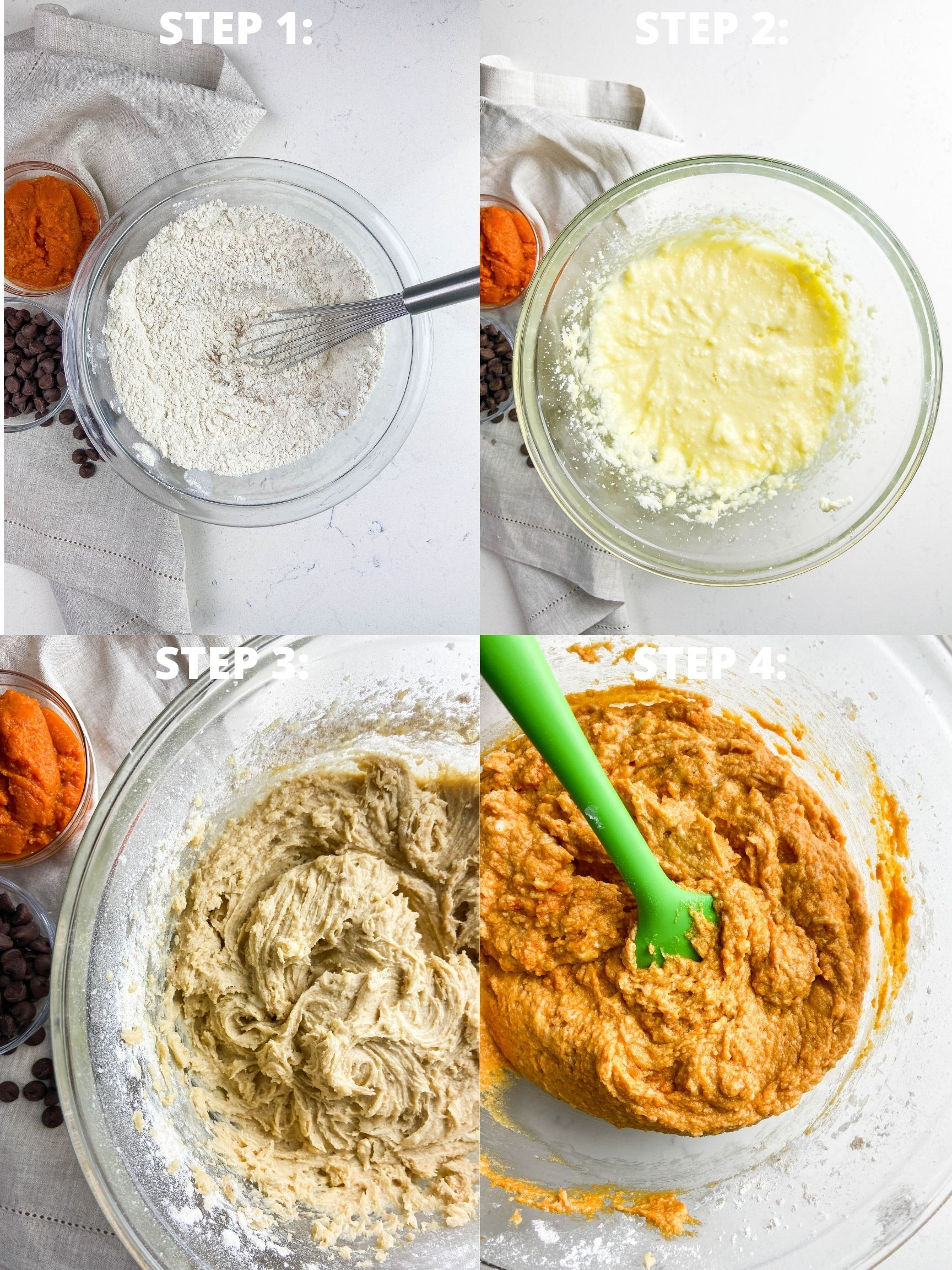 Step by step photos showing how to make a pumpkin cake.
