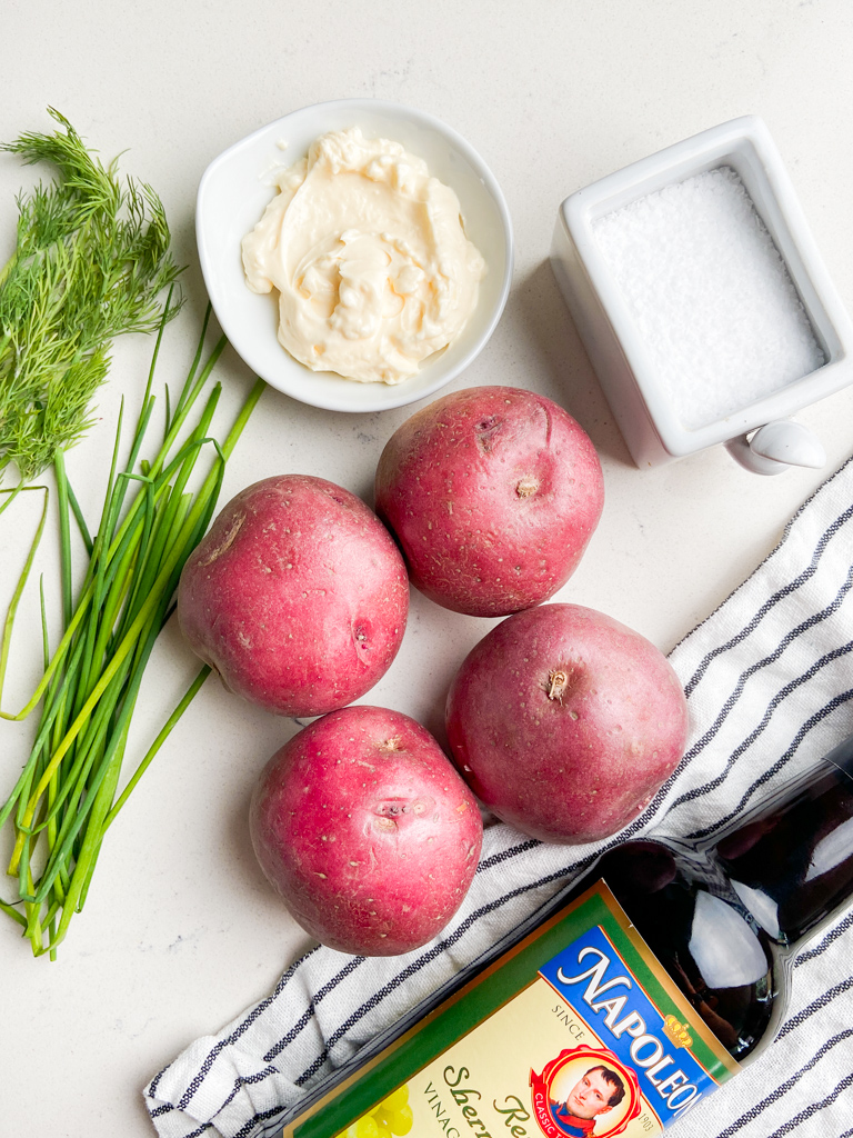 Overhead photo of ingredients used to make red potato salad.