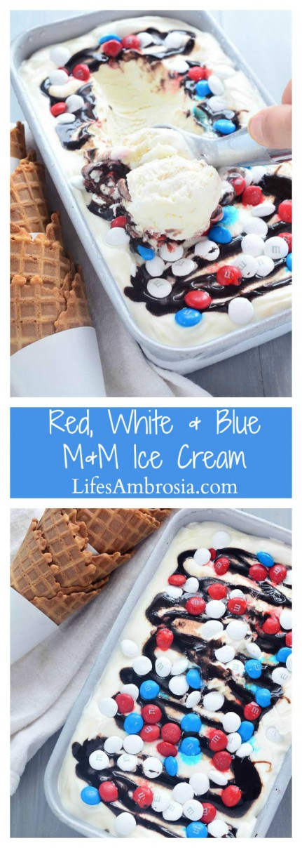 Loaded with M&Ms, fudge and caramel ,this no-churn, Red, White, and Blue M&M ice cream is perfect for your 4th of July celebrations!