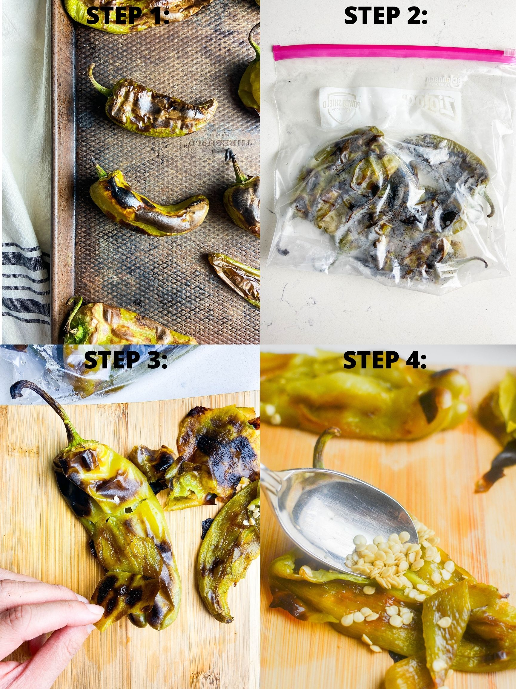 Step by step photos how to roast chiles.