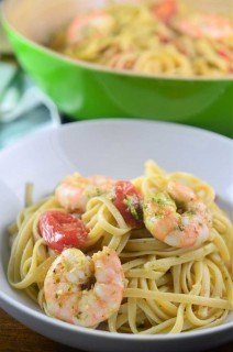 Roasted Shrimp Pesto Pasta