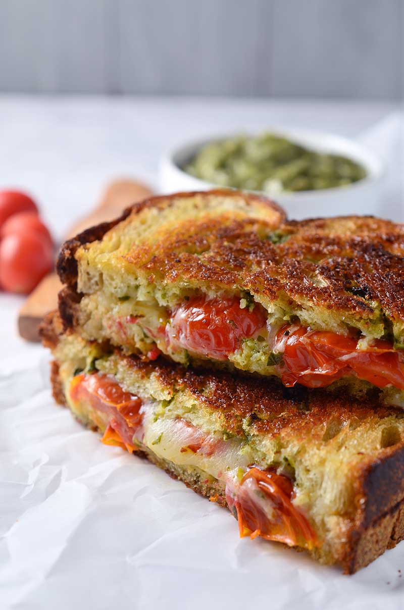 Recipe for Roasted Tomato, Pesto & Smoked Provolone Grilled Cheese ...