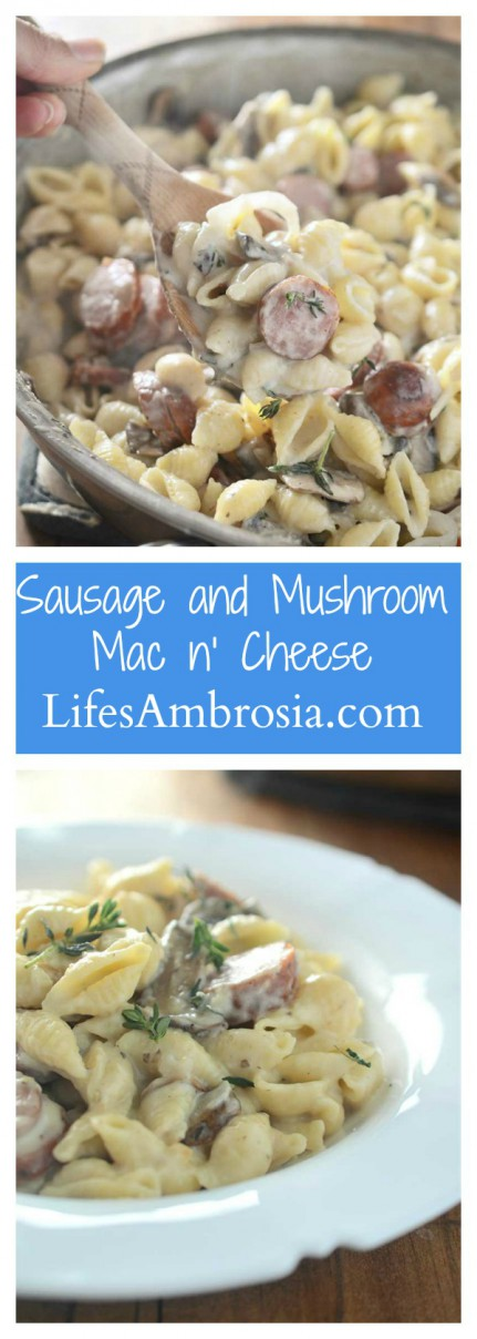 Dinner doesn't get more comforting than this Sausage and Mushroom Mac n' Cheese. This pasta is loaded with smoky sausage, mushrooms, swiss cheese and thyme. It's the perfect fall dinner!