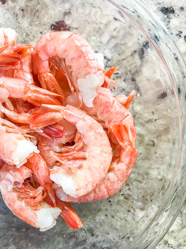 Easy Peel Shrimp in a bowl for Low Country Boil