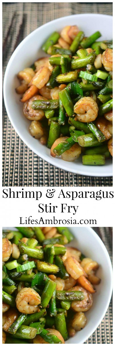 A quick and easy shrimp and asparagus stir fry perfect for weeknight dinners.