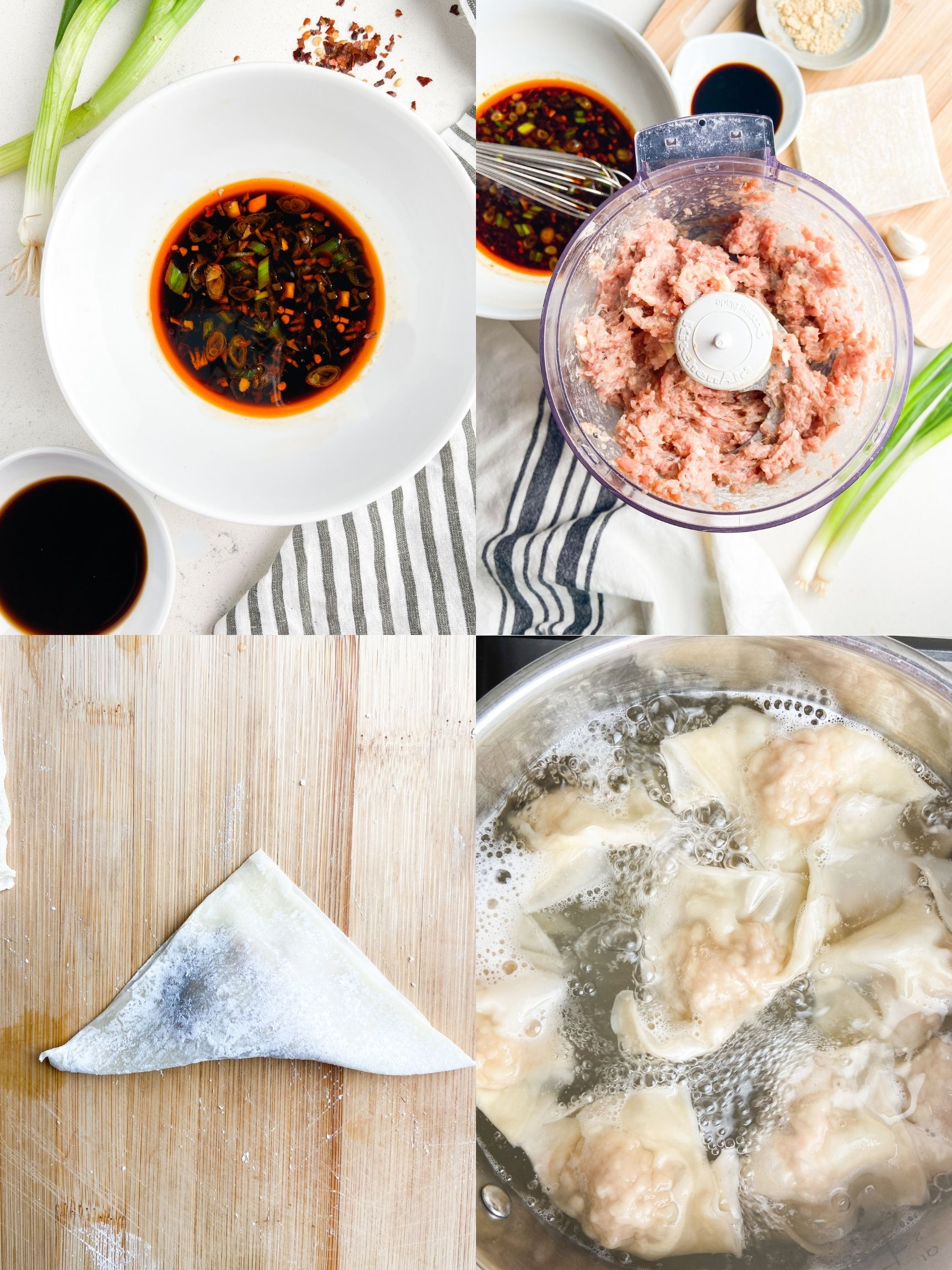 A collage of 4 Step by step photos showing how to make pork wontons in spicy sauce.