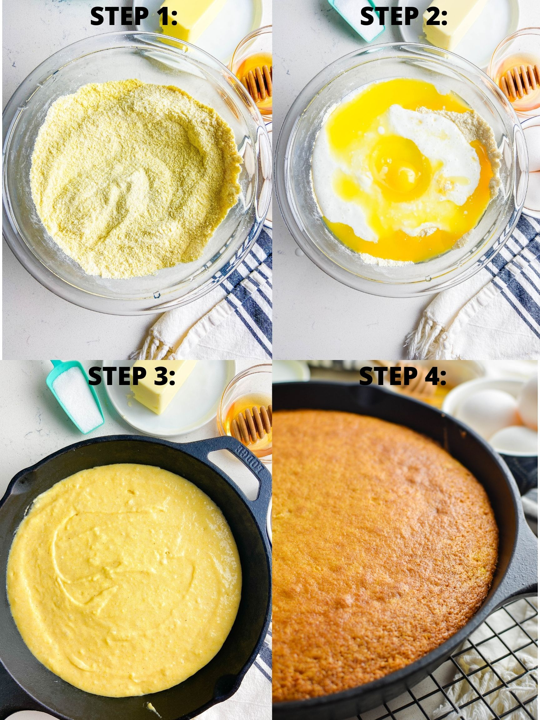 Step by step photos showing how to make skillet cornbread.