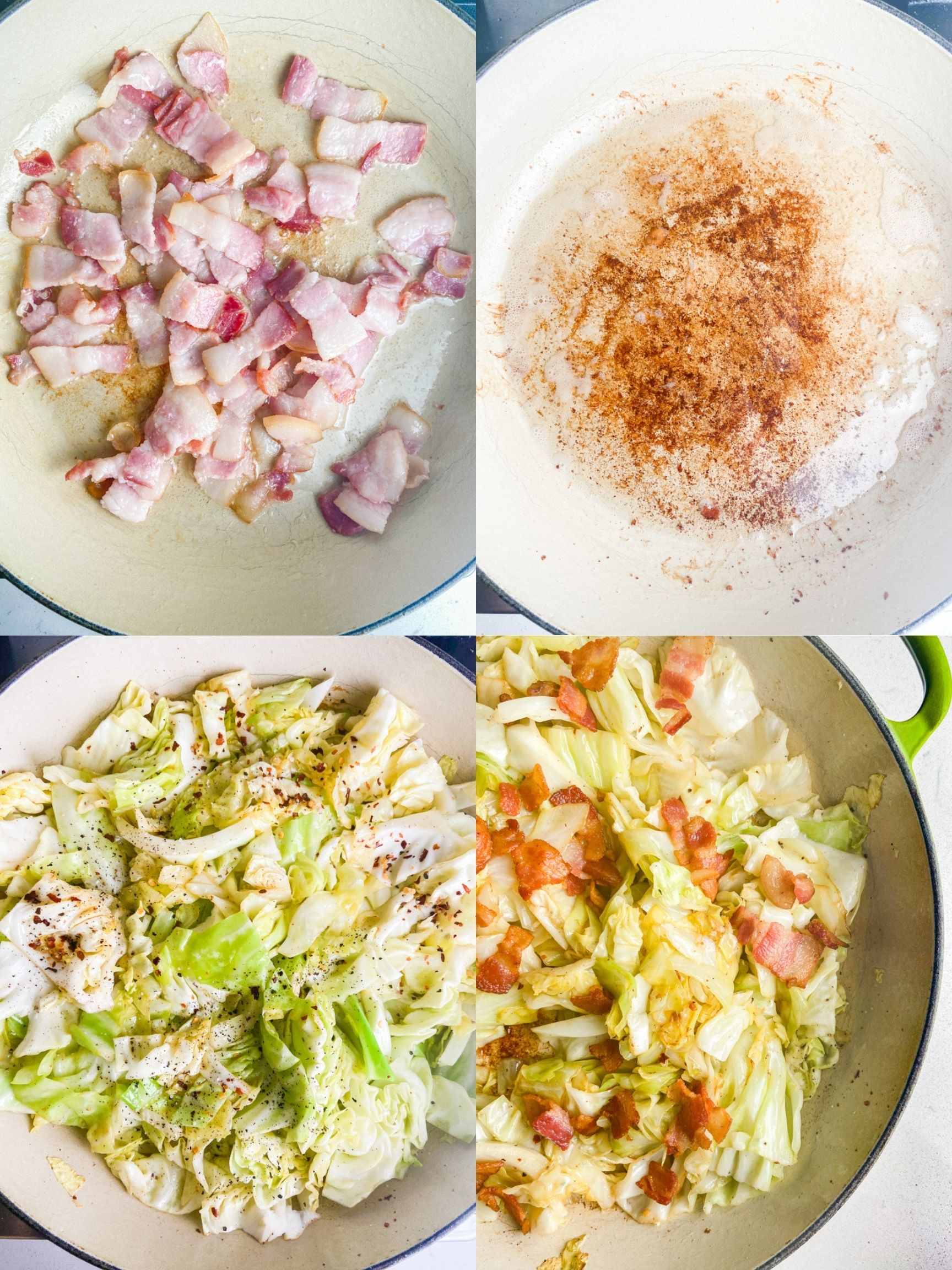 4 step by step photos showing how to cook fried cabbage with bacon.