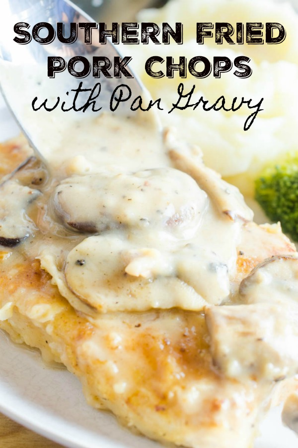 Southern fried pork chops with mushroom gravy is the best comfort food meal for a chilly night. Tender pork, dredged in seasoned flour and smothered with pan gravy. It never fails to satisfy. #comfortfood #porkchops #southernporkchops