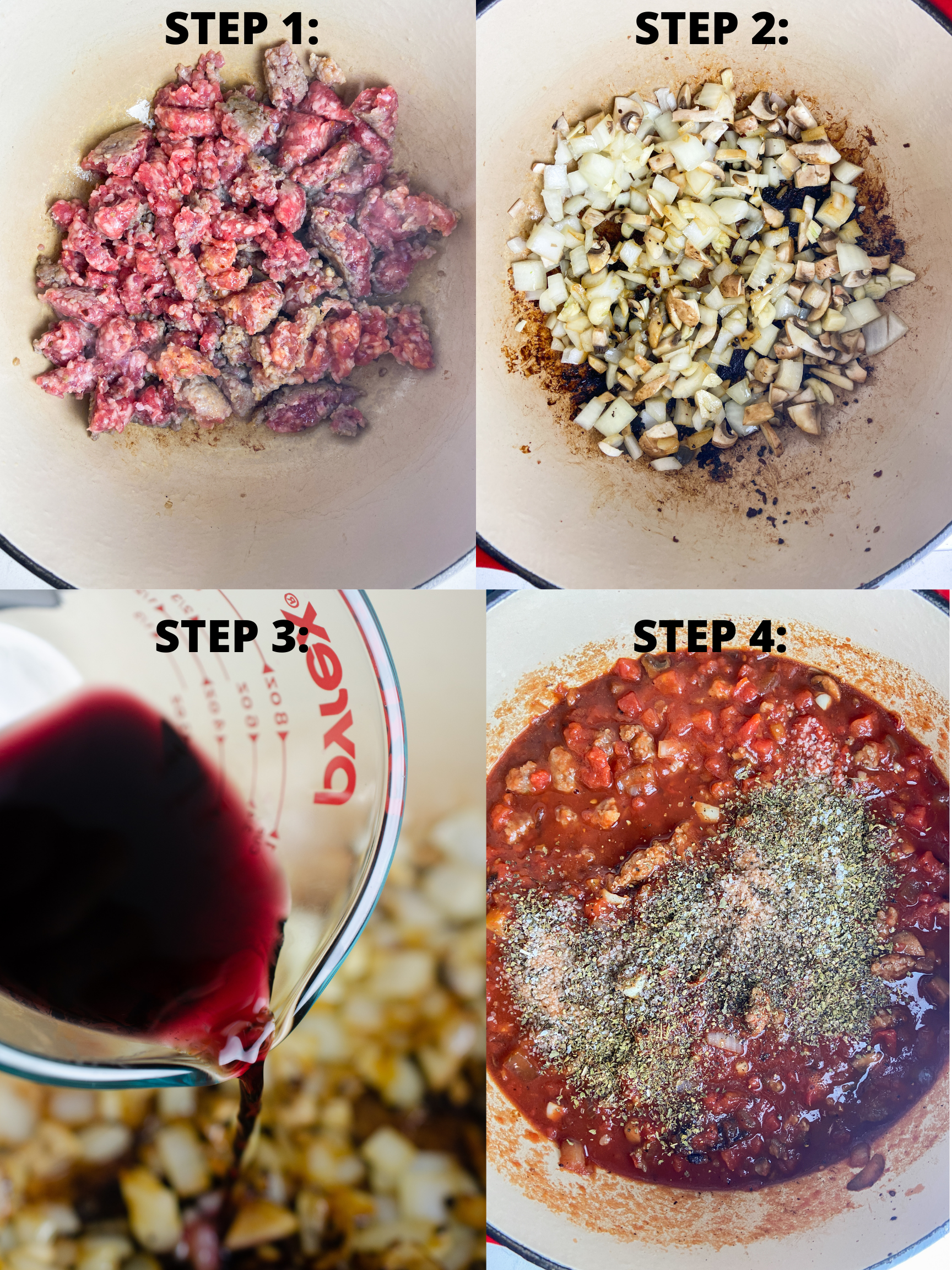 Step by step photos showing how to make meat sauce.