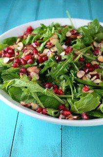 Spinach, Arugula, Almond and Pomegranate Salad