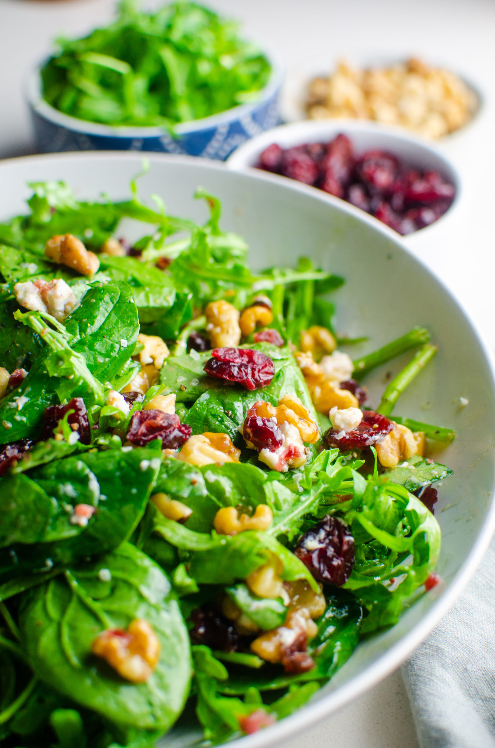 Side view of spinach cranberry salad.