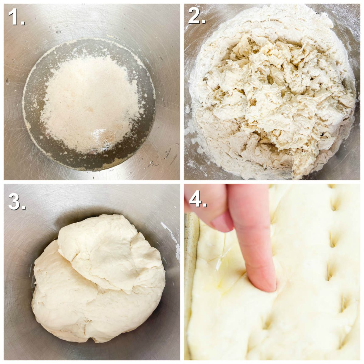 Step by step photos for how to make focaccia bread