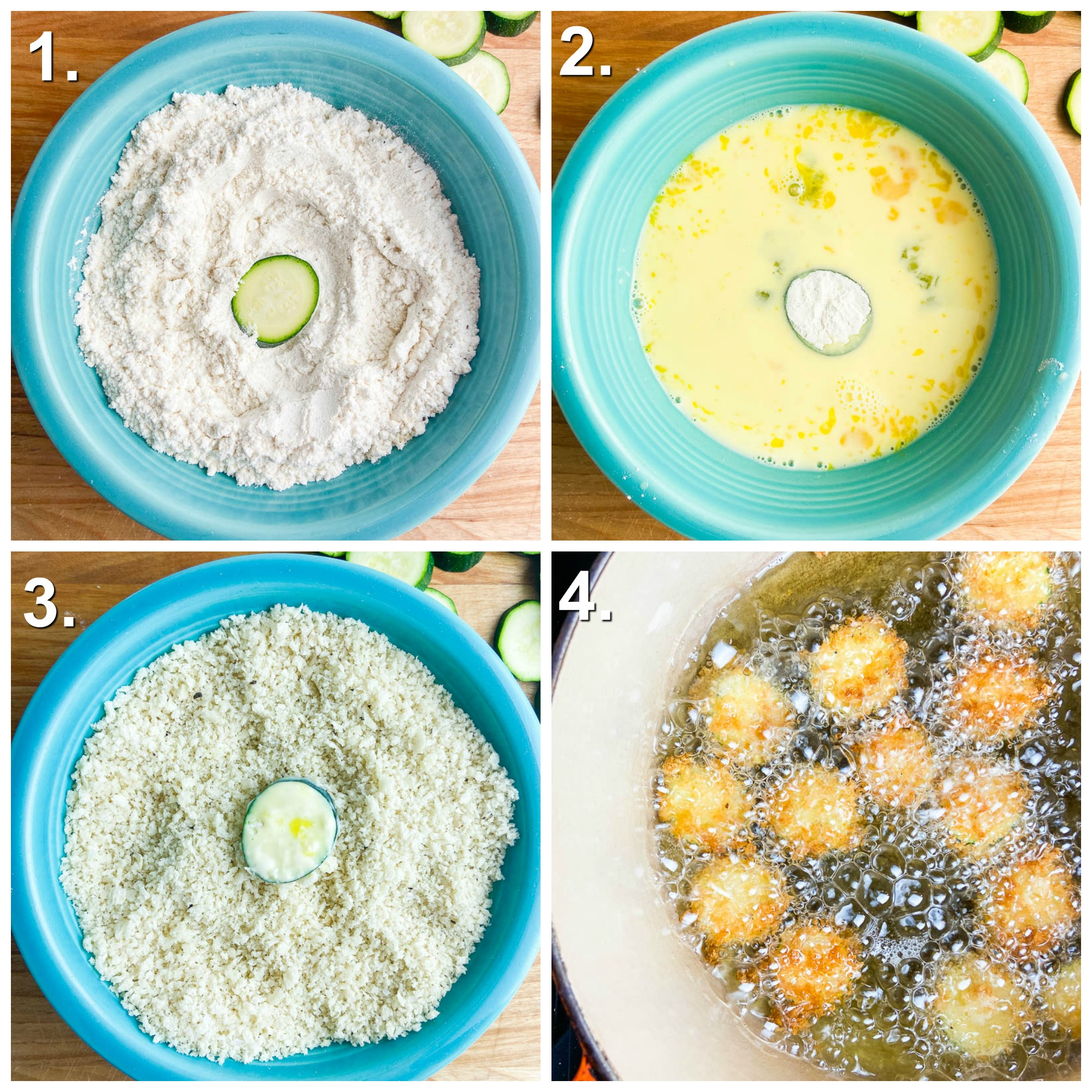 4 photos for how to make fried zucchini. Photo 1: dredging the zucchini round in flour in a teal bowl. Photo 2: Dipping the flour in egg/milk wash in teal bowl. Step 3: Dredging zucchini in panko bread crumbs in seasoned bowl. Step 4: Frying zucchini