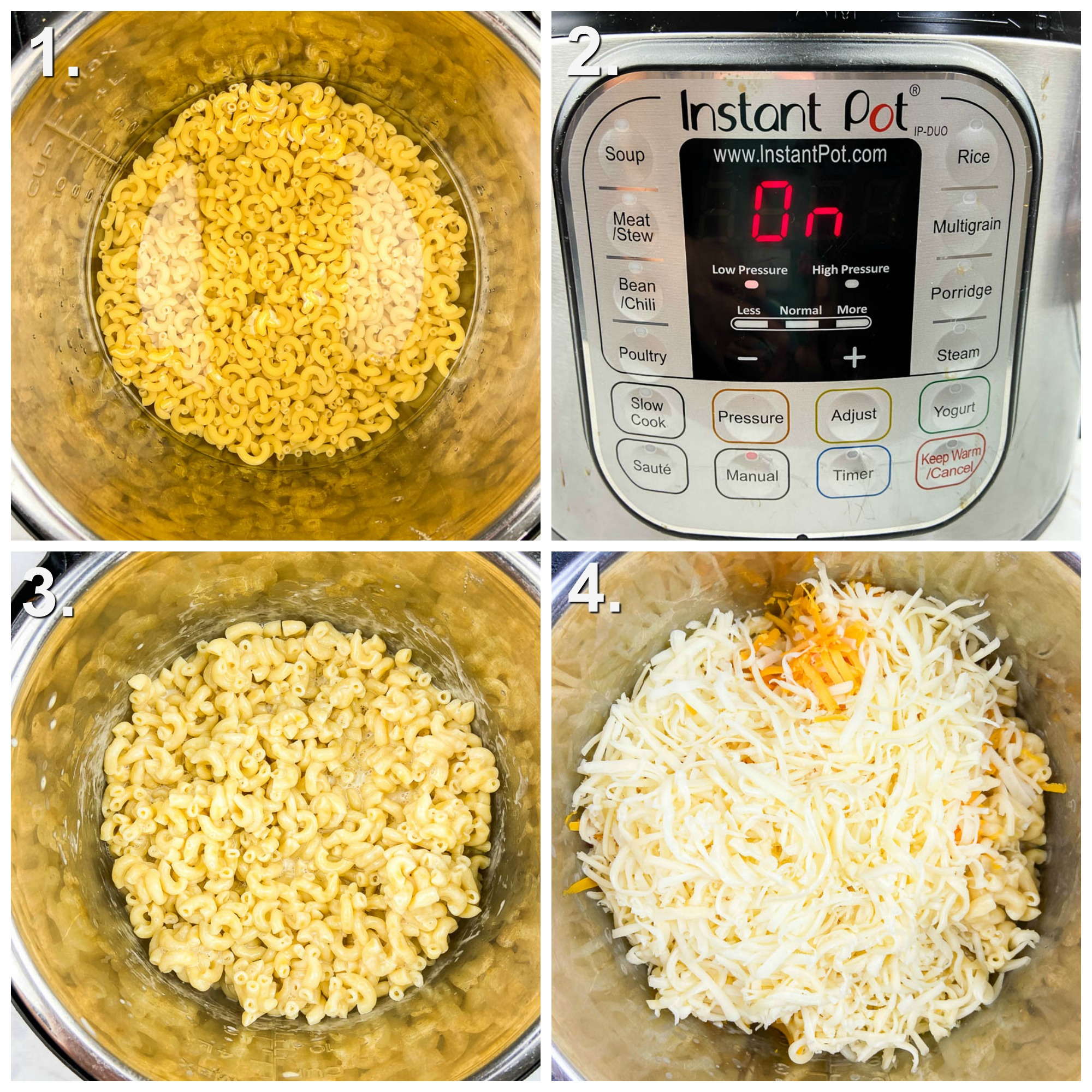 Step by Step Photos for how to make instant pot mac and cheese. Photo 1 cooking pasta in instant pot. Photo 2: Instant Pot on Photo 3: cooked macaroni Photo 4: Cheese on macaroni in instant pot