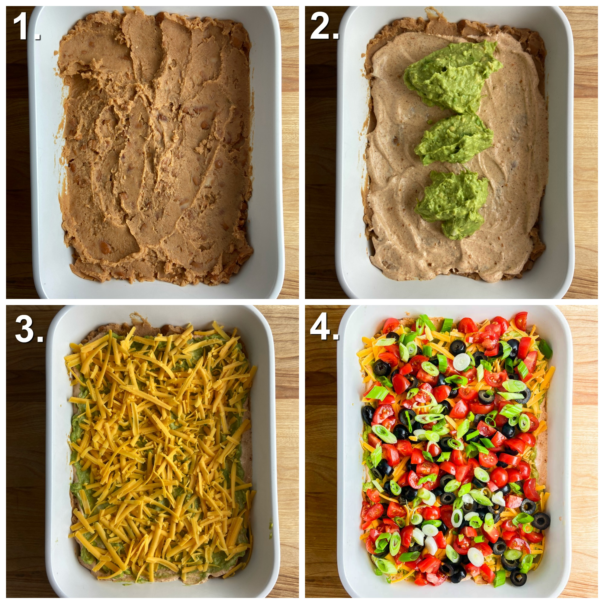 4 photos showing the different layers of seven layer dip in a white dish.