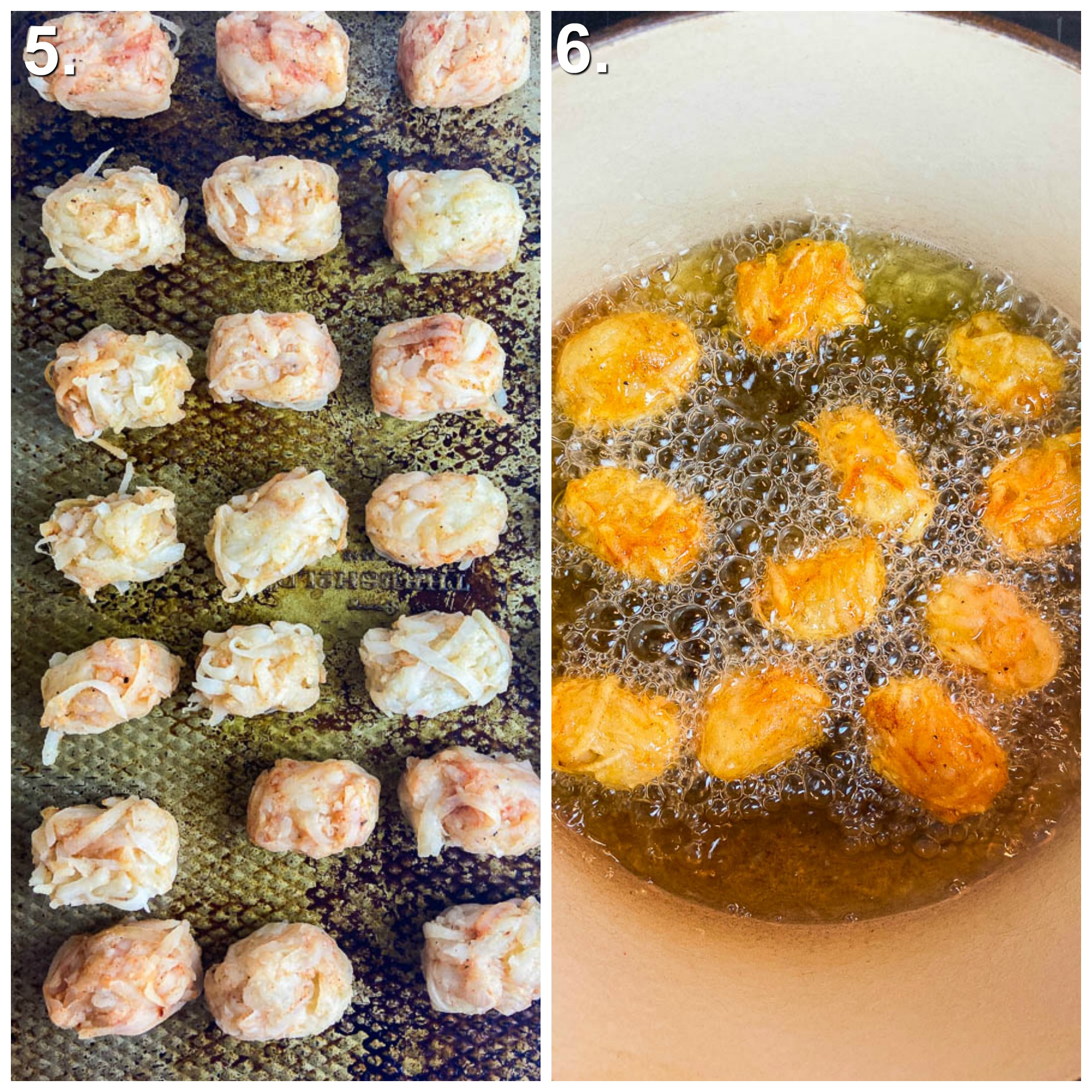 Collage of 2 photos. Tater tots on baking sheet and tater tots frying in a pot.