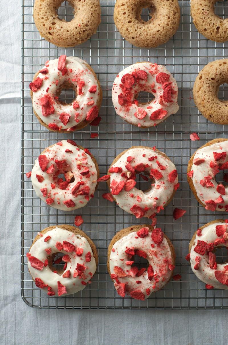 Strawberry Doughnuts with Cream Cheese Glaze