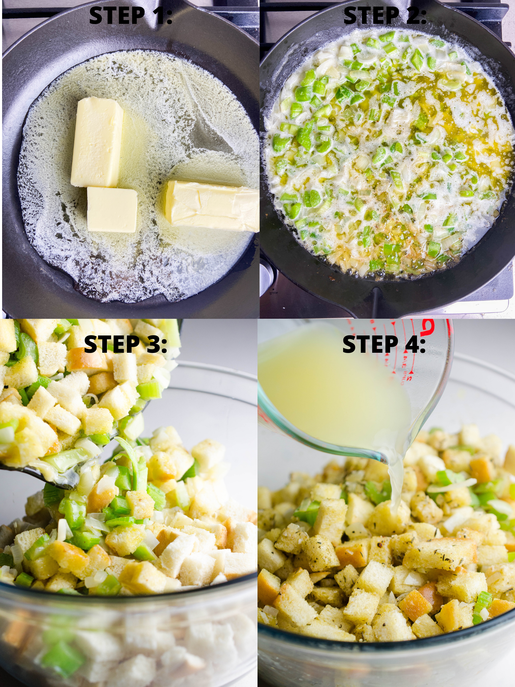 Step by step photos of stuffing.
