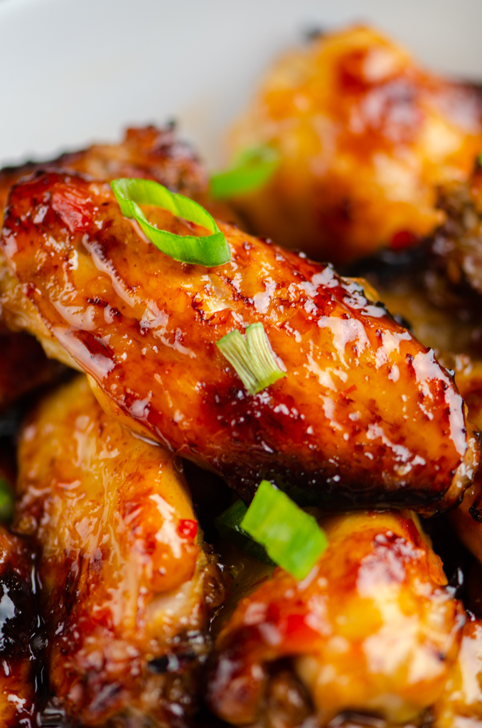 Close up photo of chili chicken wings.